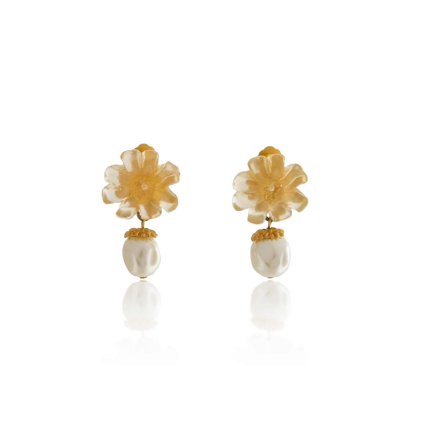 Vintage Kenzo Pearl Flower Earrings