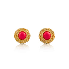 Load image into Gallery viewer, Vintage Pink Stone Earrings