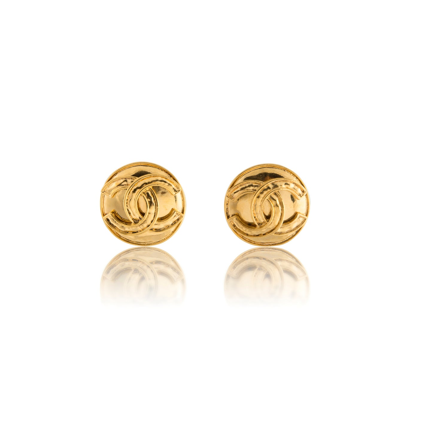 Vintage Chanel Hammered Gold CC Earrings