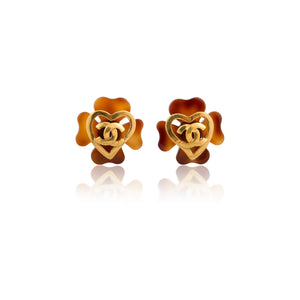 Vintage Chanel CC Brown Clover Earrings