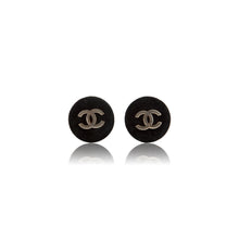 Load image into Gallery viewer, Vintage Chanel CC Black Velvet Earrings