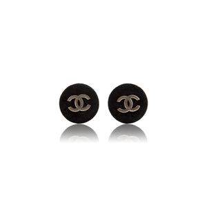 Vintage Chanel CC Black Velvet Earrings