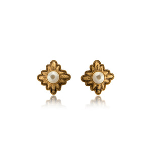 Vintage Chanel CC Pearl Baroque Earrings