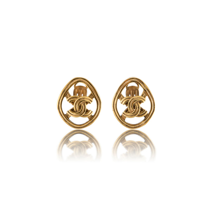 Vintage Chanel CC Oval Earrings