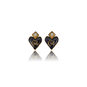 Vintage Christian Lacroix CL Blue Enamel Heart Earrings