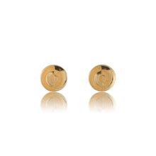 Load image into Gallery viewer, Vintage Beige & Gold Enamel Earrings