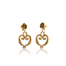 Load image into Gallery viewer, Vintage Art Deco Heart Dangle Earrings