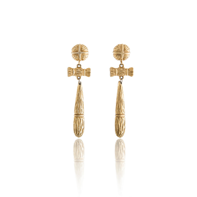 Vintage Bamboo Shaped Tassel Earrings