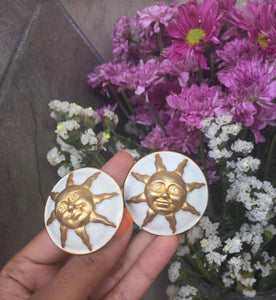 Vintage Sun White Enamel Round Earrings