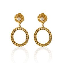 Load image into Gallery viewer, Vintage Moschino Pearl Hoops