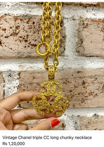 Vintage Chanel triple CC necklace