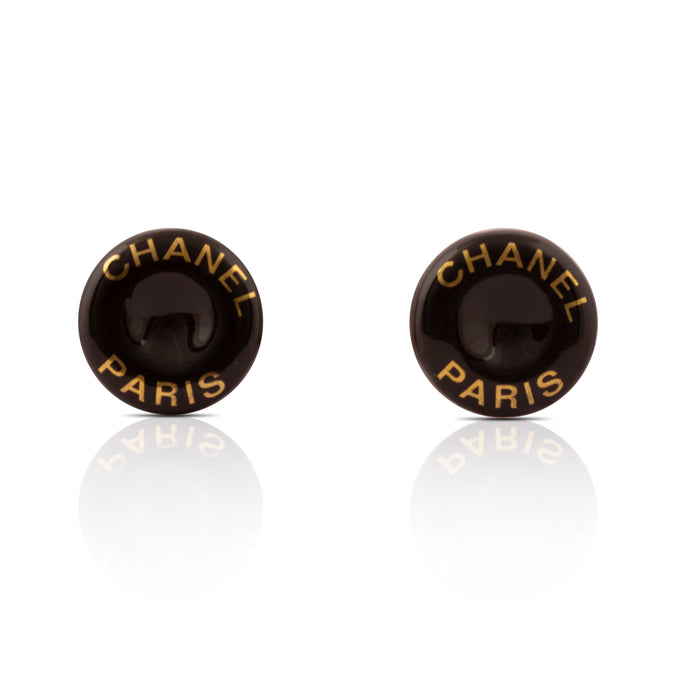 Vintage Chanel Bakelite Logo Earrings