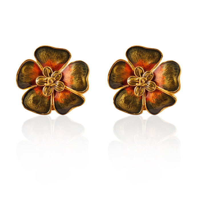 Vintage Chanel CC Enamel Camelia Earrings