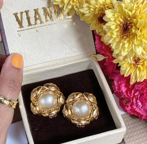 Vintage Chanel CC Pearl Earrings