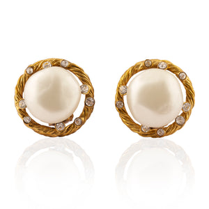 Vintage Chanel Pearl & Diamond Earrings