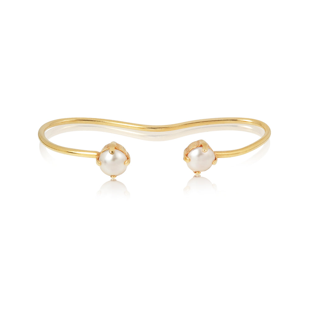 Pearl Stud Palm Cuff in Ivory
