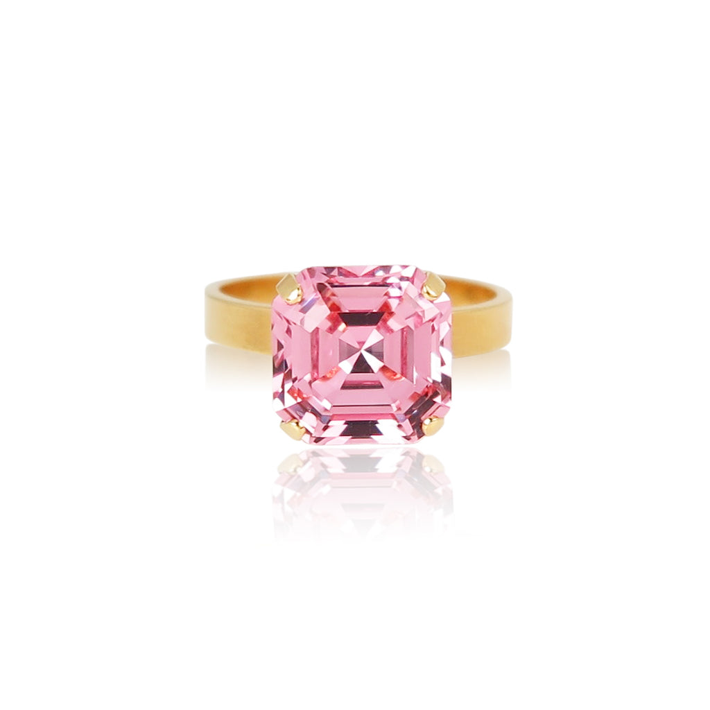 Imperial square princess cut stone ring in light rose pink