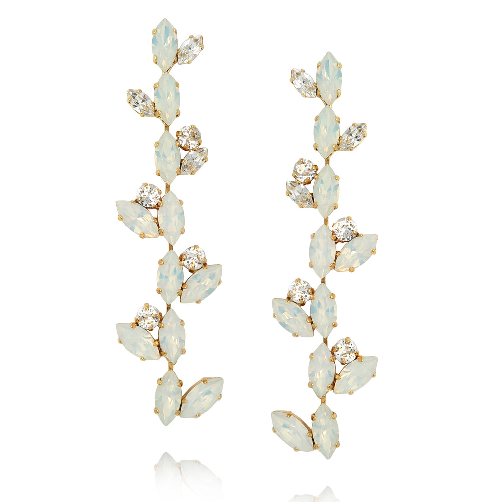 Crystal Vines Long Embellished Earrings in White Opal