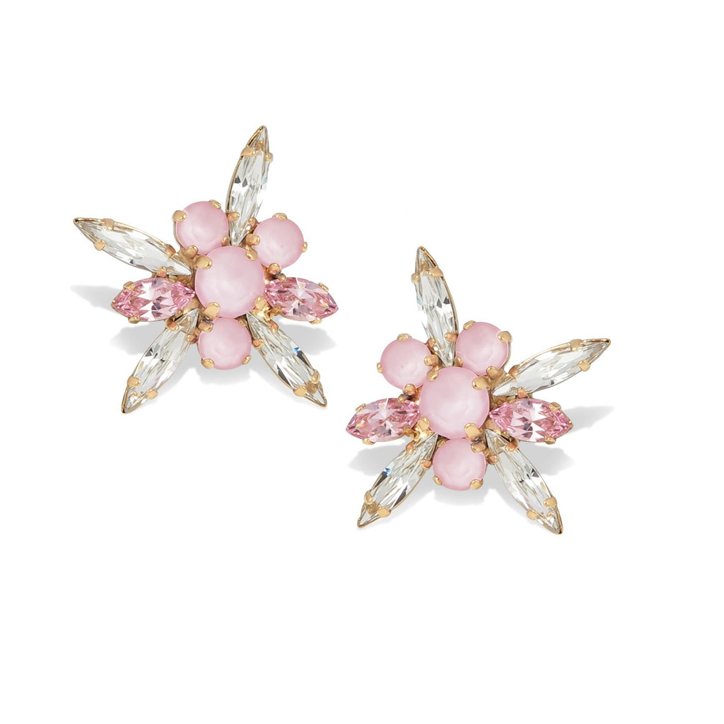 Floral crystal Statement Stud Earrings (mini) in Powder Pink