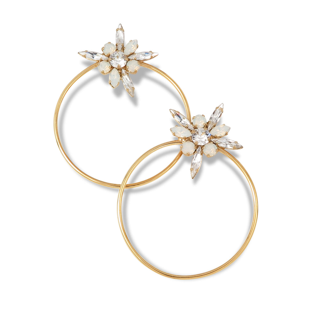 Crystal Floral Hoop Earrings in White Opal