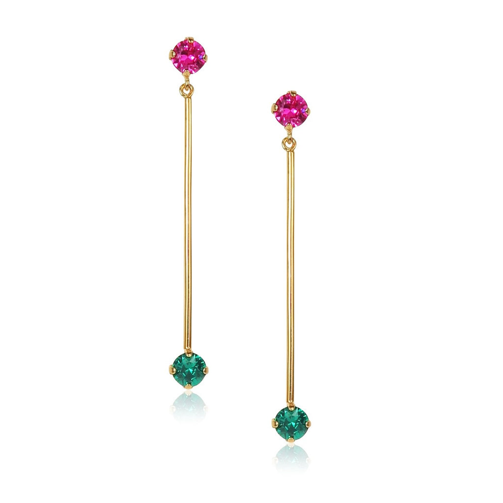 Gem Bar Earrings in Emerald green and Fuchsia