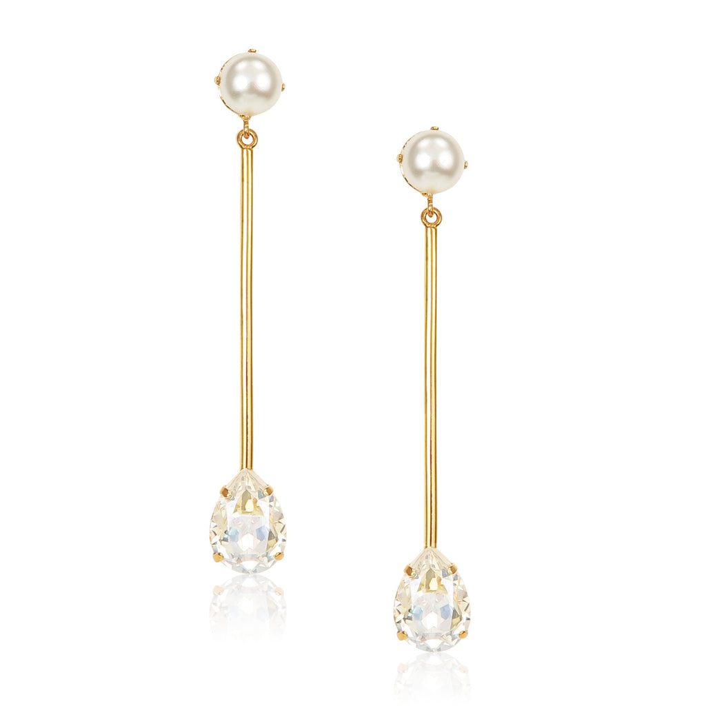 Stone Bar Earrings in pearl and crystal moonlight