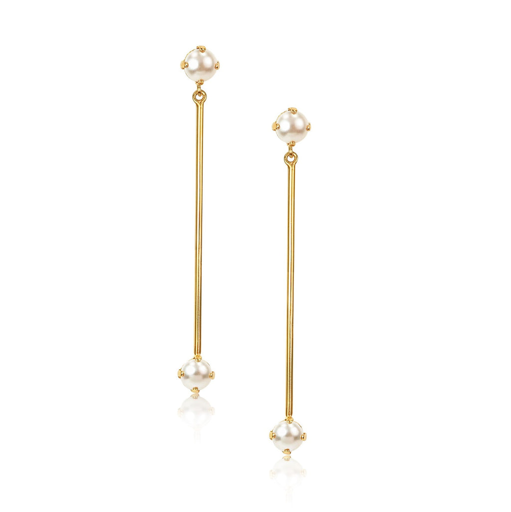 Gold Pearl Bar Earrings in Ivory