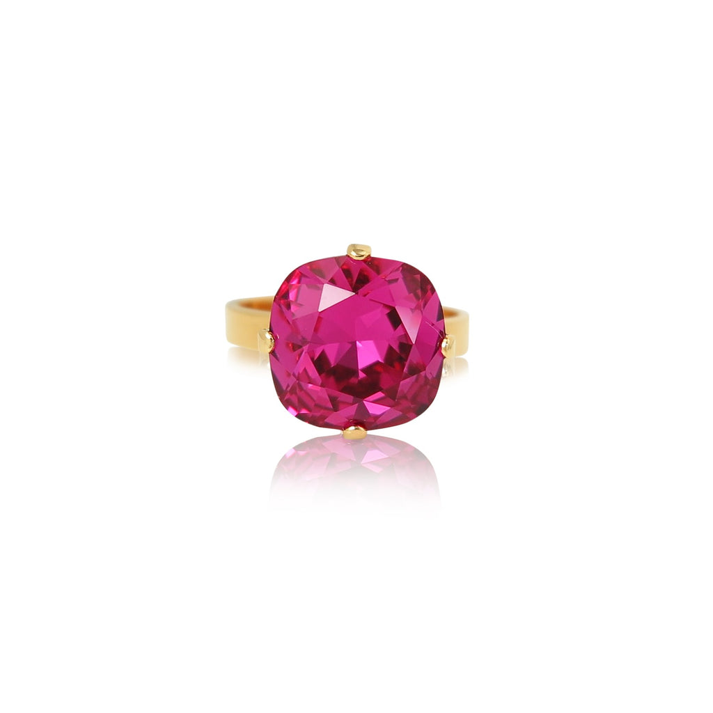 Cushion Cut Crystal Stone Ring in Fuchsia