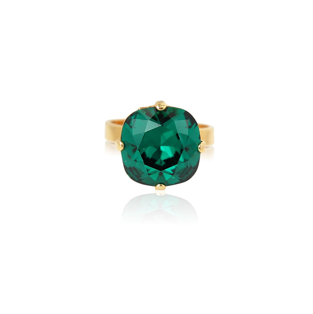 Cushion Cut Crystal Stone Ring in Emerald Green