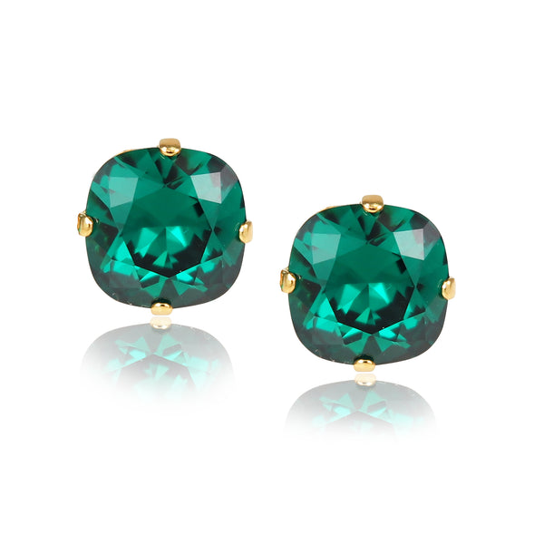 Emerald Green Cushion Cut Large Stud Earrings