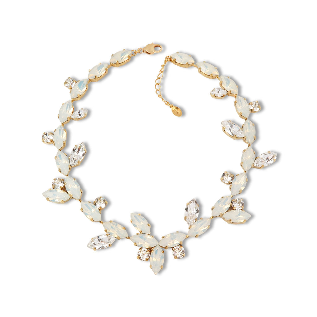 The Crystal Vines Statement Necklace in White Opal