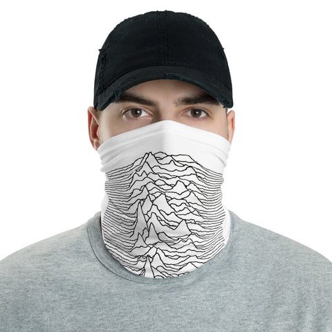 Joy Division - UNKNOWN PLEASURES  - White - Face Mask & Neck Gaiter