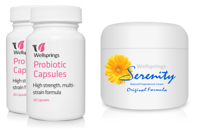 Wellsprings Probiotic Capsules and Serenity Cream Pack