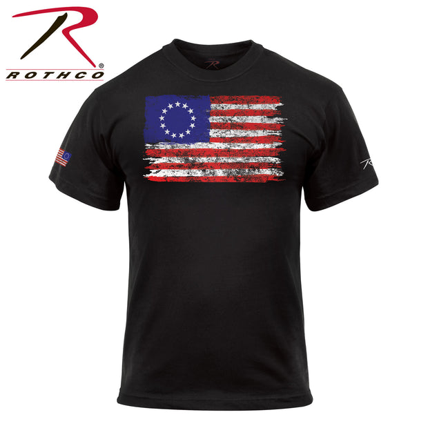 Colonial Betsy Ross Flag T-Shirt - Black