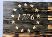 Betsy Ross 1776 Handmade Wooden Flag Natural Wood Finish Indoor Outdoor Patriotic Wall Art