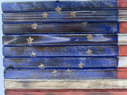 Rustic Betsy Ross Handmade Wooden American Flag with 13 Carved Stars Patriotic Wall Art