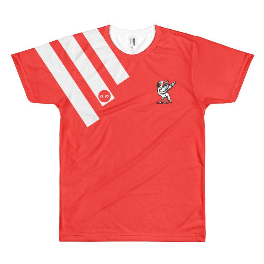 1991-1992 Retro Full Print T-Shirt Red with White Liverbird / Unisex-Kop Clobber
