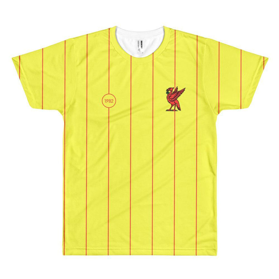 Retro 1982 Full Print T-Shirt Yellow with Red Liverbird / Unisex-Kop Clobber