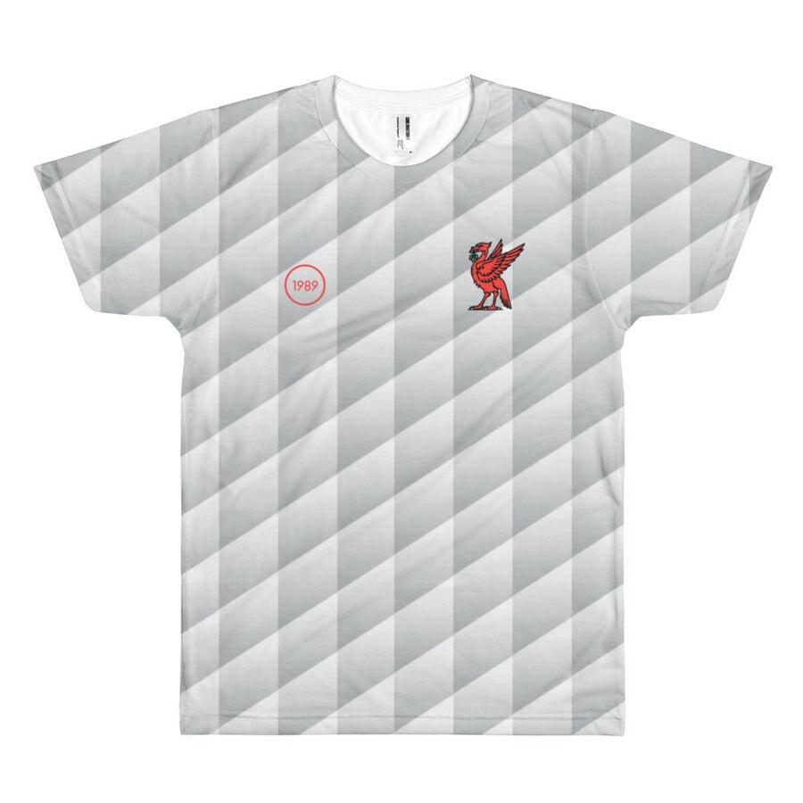 Retro 1989 Full Print T-Shirt Grey Pattern with Red Liverbird / Unisex-Kop Clobber