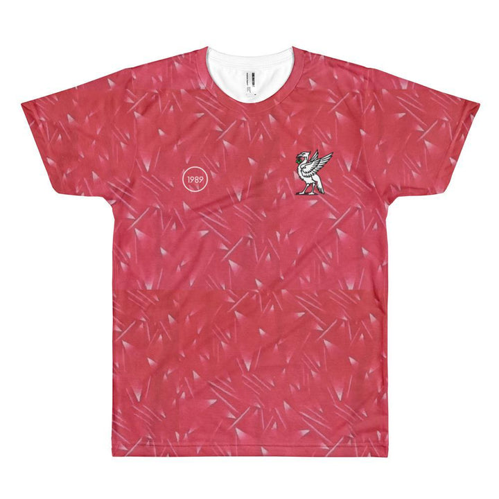 Retro 1989 Full Print T-Shirt Red Pattern with White Liverbird / Unisex-Kop Clobber