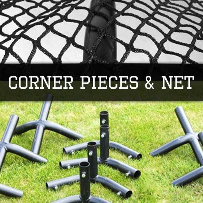 BATTING CAGES INC Corner Kit & Nets 35' Freestanding Trapezoid Batting Cage Corner Connectors & Net