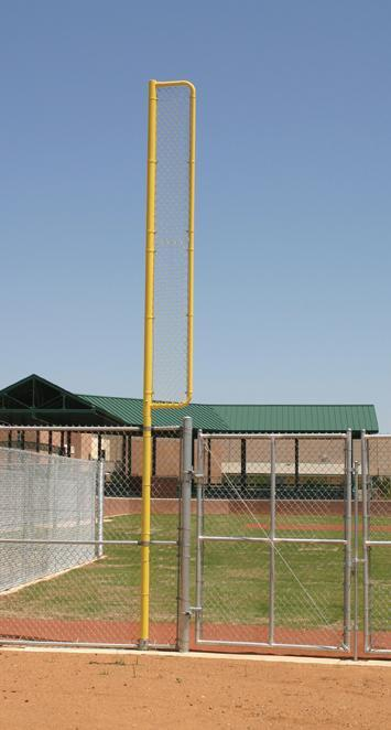 "Heavy-Duty Foul Poles (Pair) 20' Professional Foul Pole - Above Ground, 12' Wing, 3.5"" O.D. / 20' Foul Pole"