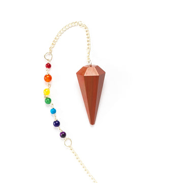 Pendulum - Faceted with 7 Chakra Beads, Orange