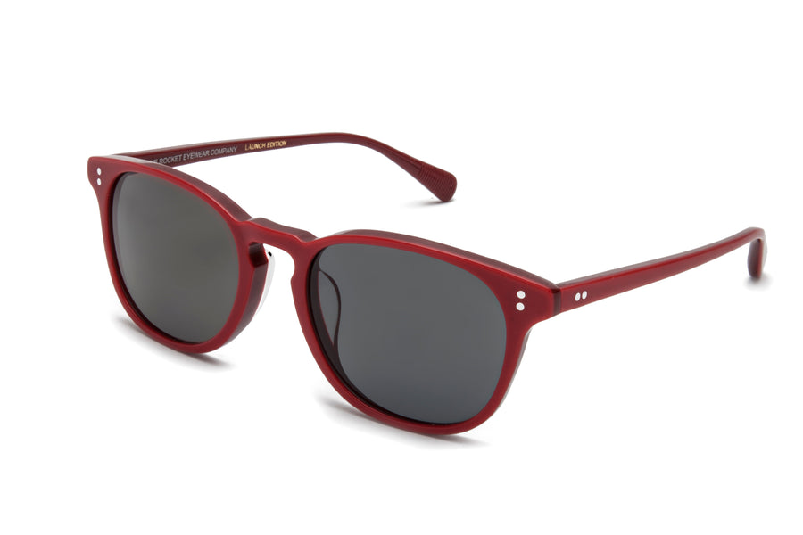 Rocket Eyewear Company P3 Classic Sunglasses Carmine Rosewood with Grey polarized lenses