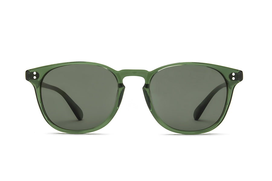Rocket Eyewear Company P3 Classic Sunglasses Hunter Green Clear with Green polarized lenses
