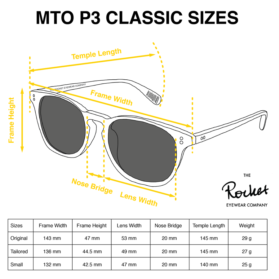 Rocket MTO P3 Classic Onyx/Gainsboro with Grey Polarized Lenses (Launch Edition)
