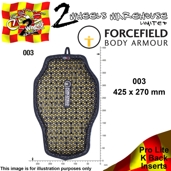 FORCEFIELD BODY ARMOUR PROLITE K BACK INSERT CE LEVEL 2 003 42cm x 27cm