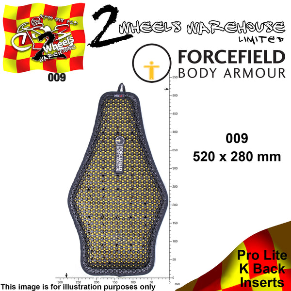 FORCEFIELD BODY ARMOUR PROLITE K BACK INSERT CE LEVEL 2 009 52cm x 29cm