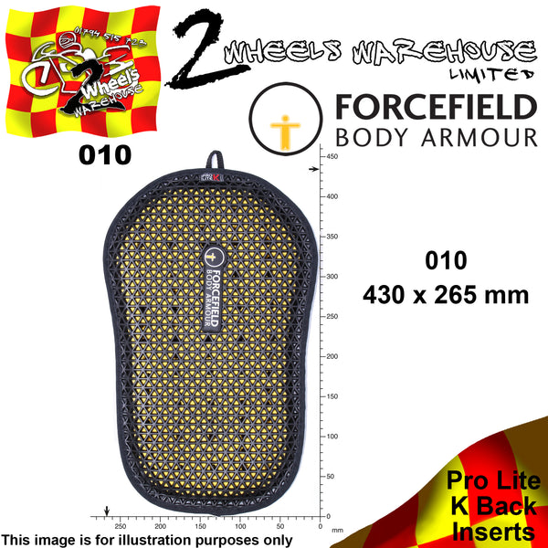FORCEFIELD BODY ARMOUR PROLITE K BACK INSERT CE LEVEL 2 010 43cm x 27cm