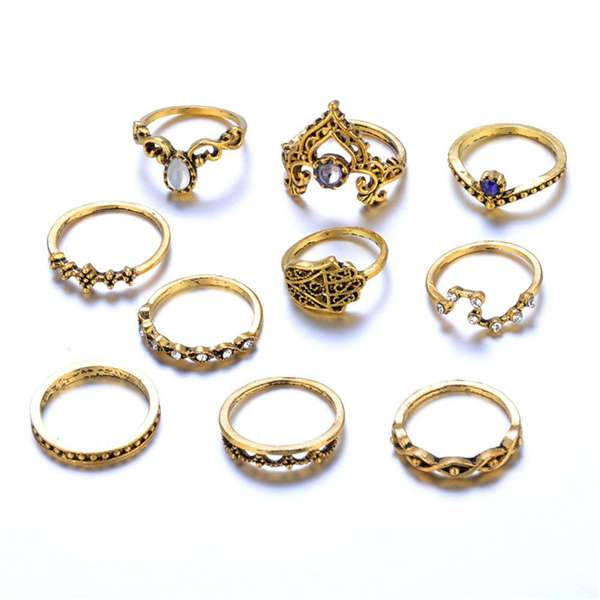 Bohemian Fatima Hand Crown Hollow Finger Ring(1 SET)